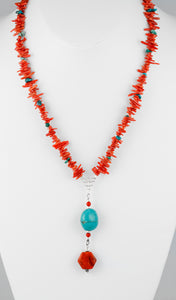 Sterling silver handcrafted necklace of genuine turquoise and coral