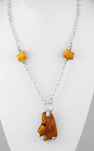Handcrafted necklace amber fossils with sterling silver