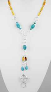Handcrafted necklace 925 sterling silver and turquoise, amber fossils.