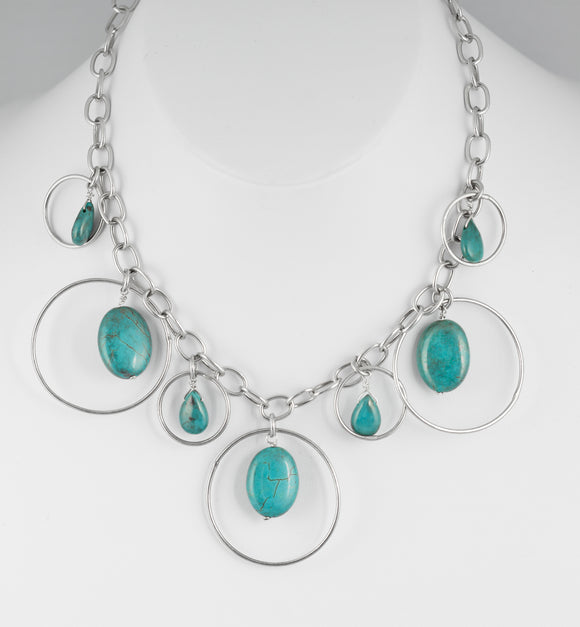 Sterling silver handcrafted necklace of genuine turquoise