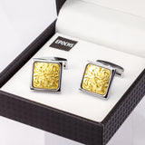 Square Golden Cufflinks French Shirt With Gift Box