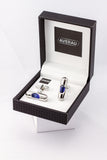 Blue Level Cufflinks French Shirt With Gift Box