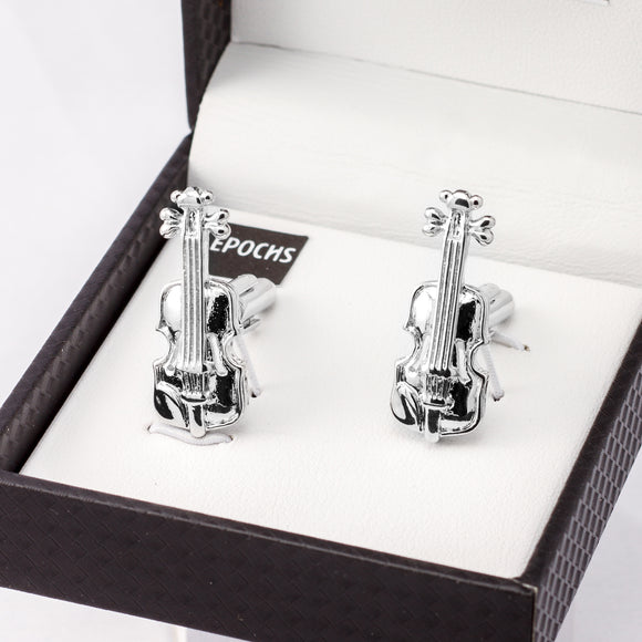 Silver Violin Cufflinks French Shirt With Gift Box