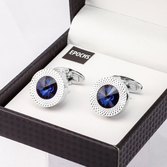Blue Crystal Cufflinks French Shirt With Gift Box