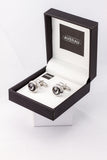 Grey Crystal Cufflinks French Shirt With Gift Box