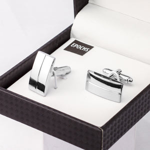 Silver Rectangular Cufflinks French Shirt With Gift Box