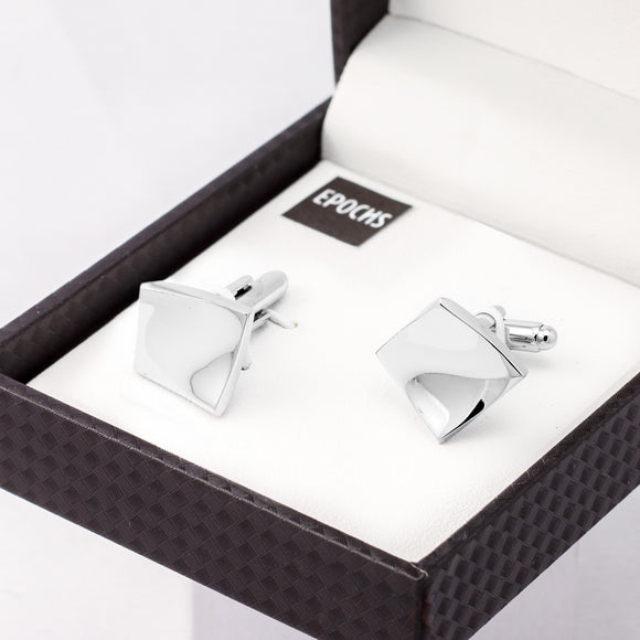 Silver Square Cufflinks French Shirt With Gift Box