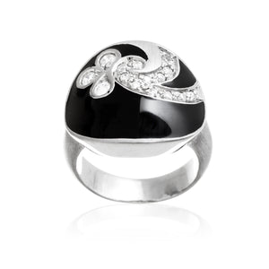 Black Enamel Brushed Sterling Silver Reverie Ring With Set CZ