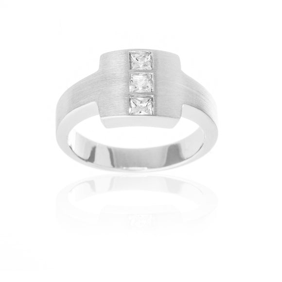 Brushed Sterling Silver Reverie Ring With Set CZ