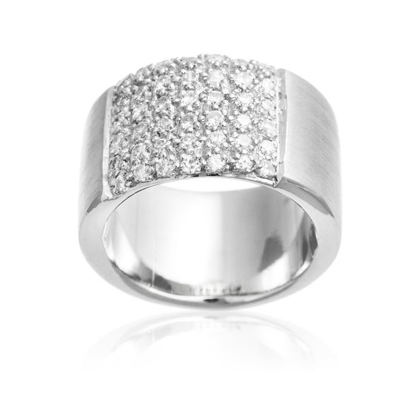 Brushed Small Round CZ Sterling Silver Reverie Ring