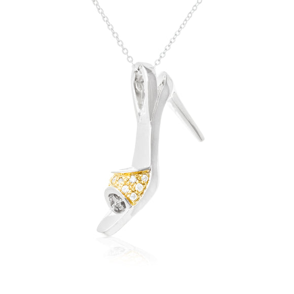 High Heel Shoes CZ Sterling Silver Pendant Gold Plated Reverie Pendant