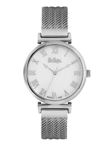 LEE COOPER -STAINLESS STEEL, MESH BAND WITH STEEL CASE AND MOTHER OF PEARL DIAL