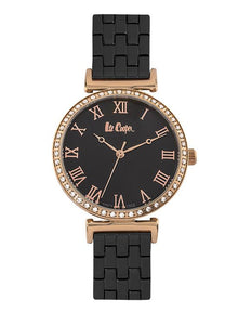 LEE COOPER -STAINLESS STEEL, STEEL BLACK BAND WITH ROSE GOLD CASE WITH CZS AND BLACK DIAL