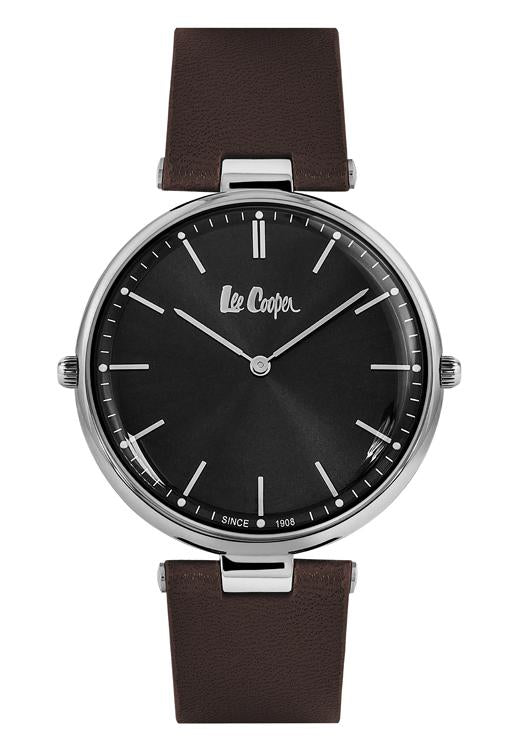 LEE COOPER - UNISEX REVERSIBLE STRAP WATCH, 1 SIDE HAS A BLACK DIAL AND 1 SIDE HAS A WHITE DIAL.