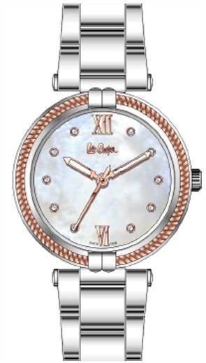 LEE COOPER - WOMEN WATCH GREY AND ROSE GOLD DIAL WITH SILVER METAL BAND, WATER RESISTANT 3 ATM