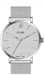 LEE COOPER -MEN WATCH GREY DIAL WITH SILVER MESH BAND, WATER RESISTANT 3 ATM