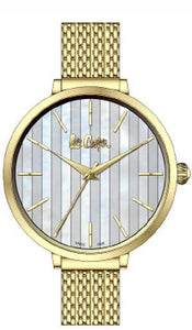 LEE COOPER -WHITE AND GOLD DIAL WITH GOLD MESH BAND WATER RESISTANT 3ATM