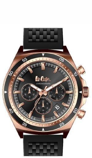 LEE COOPER -DARK GREY, ROSE GOLD AND BLACK DIAL, BLACK RUBBER BAND WATER RESISTANT 3 ATM