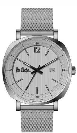 LEE COOPER -STAINLESS STEEL, MESH BAND WITH BLACK AND STEEL DIAL