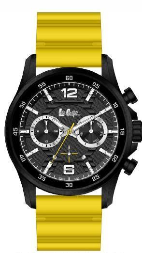 LEE COOPER -BLACK AND GREY DIAL WITH YELLOW RUBBER BAND WATER RESISTANT