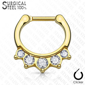 Five Crystals Hanging Set 100% Surgical Steel Septum Clickers