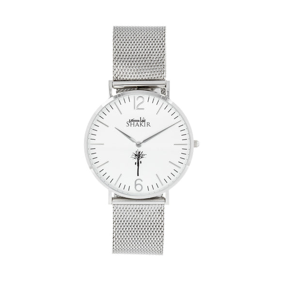 Ultra Slim Watch White Sand Stainless Steel Mesh Strap