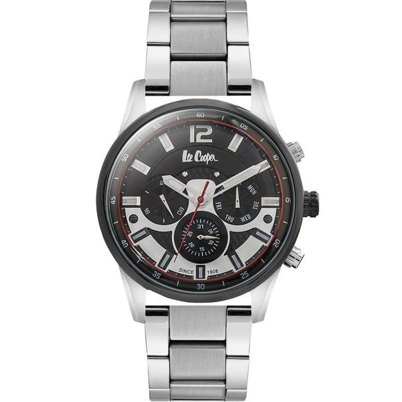 LEE COOPER -STAINLESS STEEL , STEEL BAND WITH BLACK AND WHITE DIAL RED DETAILS , MULTI FONCTION