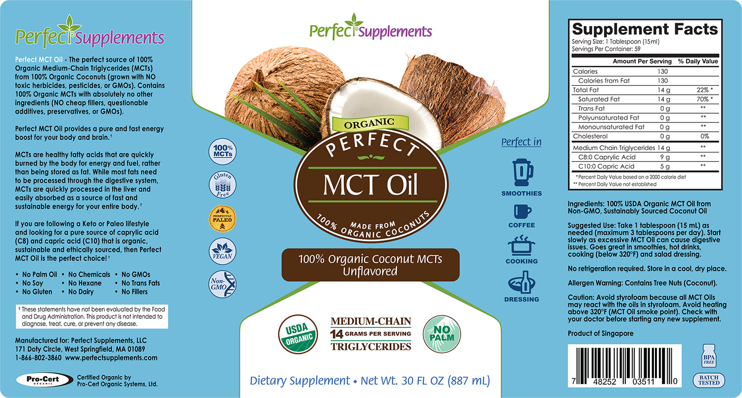 Perfect MCT Oil - 100% Certified Organic MCTs - Unflavoured 887ml