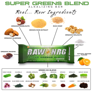 RAW NRG® Greens Blend - Nutrition Bar, 12 Count - RAW NRG®