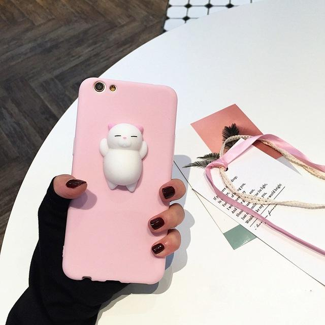 Squishy Cartoon Soft Cat Case For iPhone