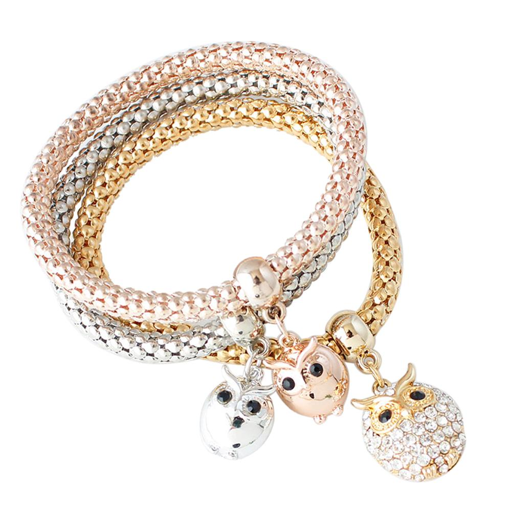 3 PCS Rope Owl Bangle Charm Rose Gold Silver