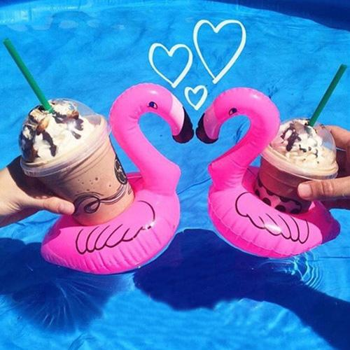 Cute Inflatable Flamingo Drink Can Cell Phone Holder