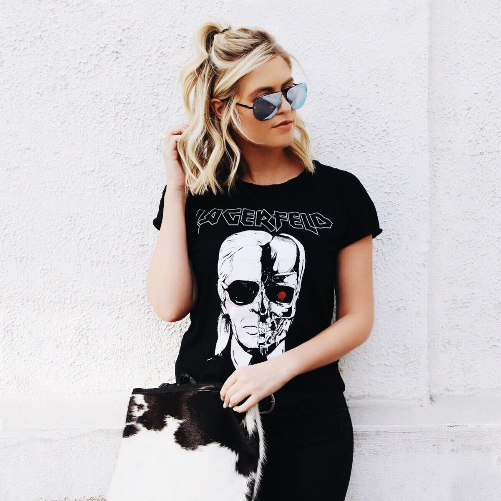 Skeleton Head In Black Zombie Skull Punk Rock Cotton TShirt