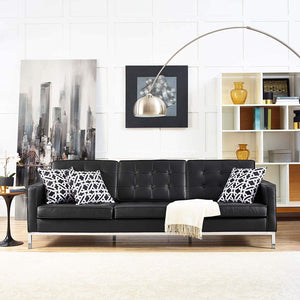 Lux Leather Sofa in Black - Mod Designs
