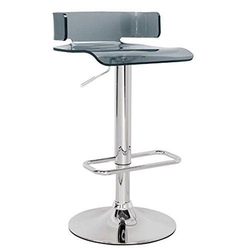 Iris Acrylic Adjustable Barstool in Smoked Grey - Mod Designs