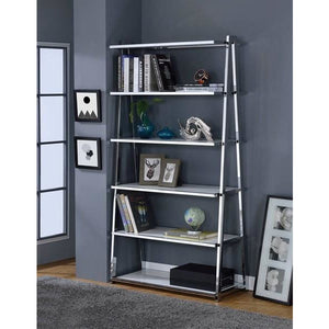 Vertex Modern Bookshelf In Black & Chrome - Mod Designs