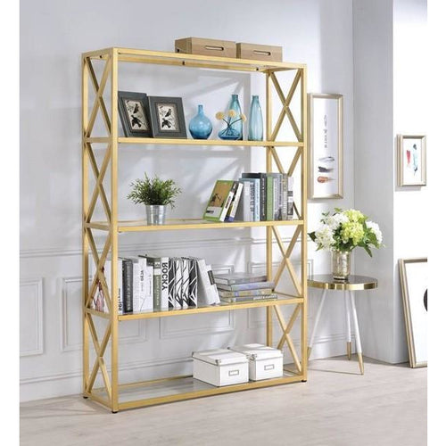 Veneta Modern Bookshelf in Gold - Mod Designs