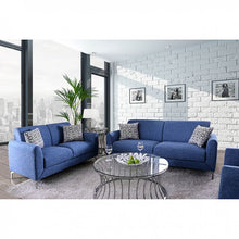 Casper Modern Sofa Set in Blue Linen - Mod Designs