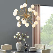 Bistro White Glass Chandelier