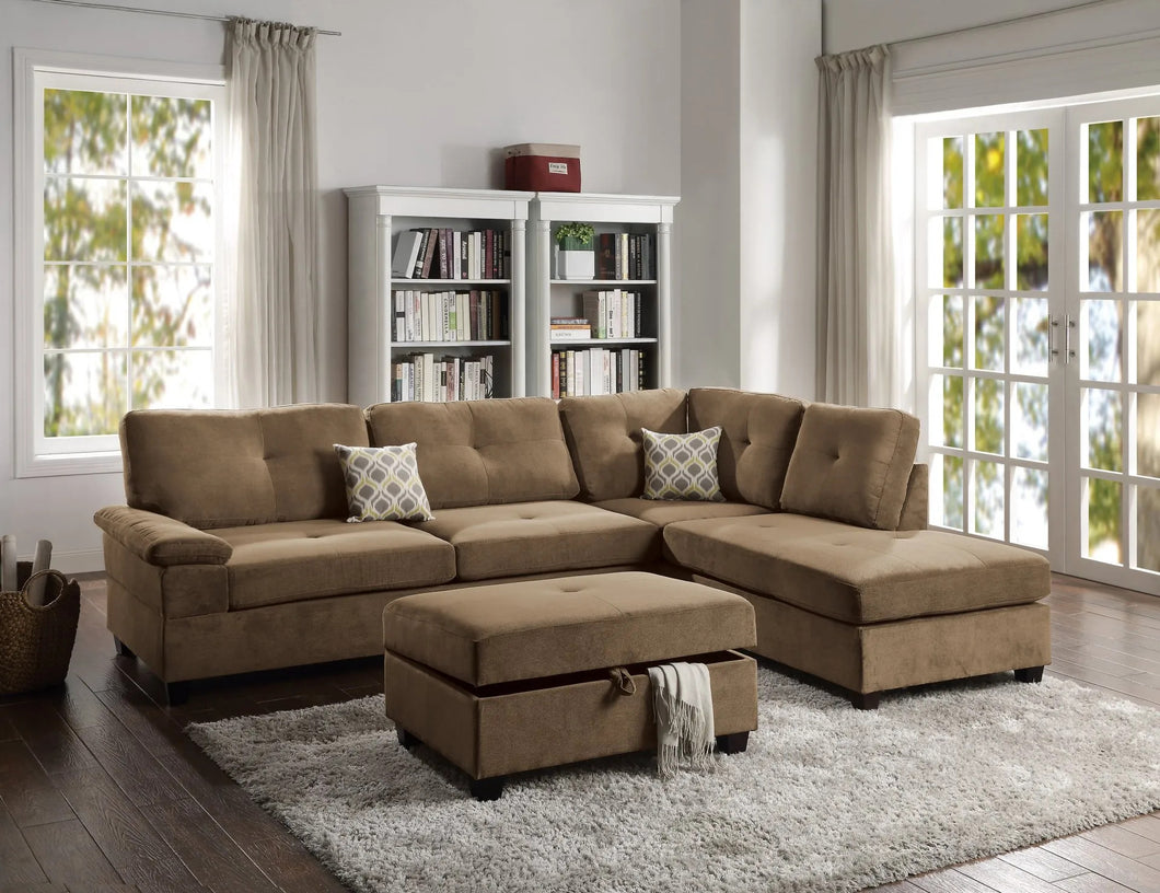 Lennox Fabric Sectional In Truffle Waffle Fabric - Mod Designs