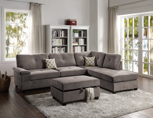 Lennox Fabric Sectional In Charcoal Waffle Fabric - Mod Designs