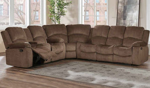 Comfy 3 Piece Reclining Sectional in Brown Fabric - Mod Designs