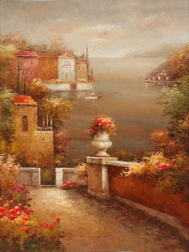 Cobblestone Waterfront Canvas Art
