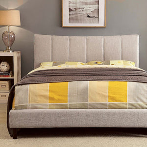 Luna Platform Bed In Beige Linen - Mod Designs
