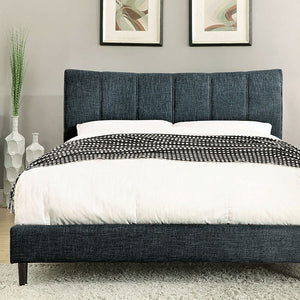 Luna Platform Bed In Blue Linen - Mod Designs