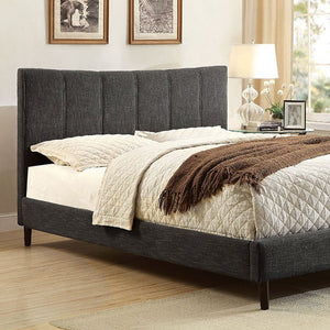 Luna Platform Bed In Gray Linen - Mod Designs