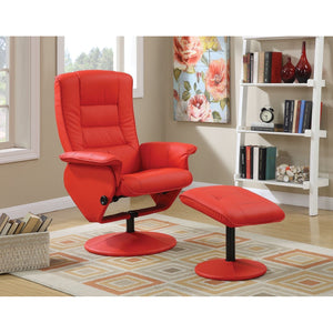 Magnus Recliner & Ottoman in Fire Red - Mod Designs