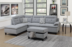 Maddox Fabric Sectional in Light Grey Polyfiber - Mod Designs