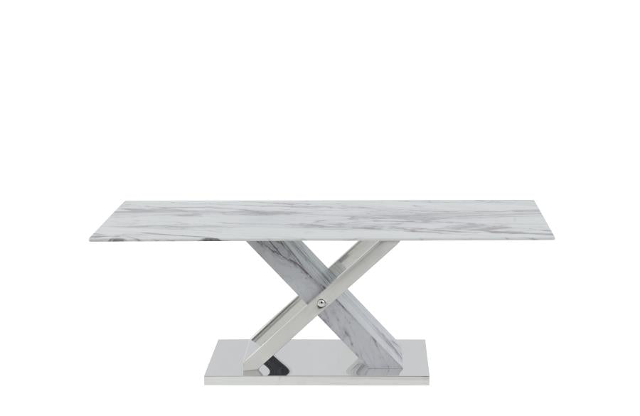 Marvel Modern Coffee Table in Cortina White - Mod Designs
