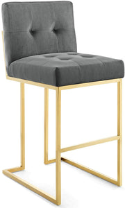 Roy Velvet Bar Stool in Charcoal Grey